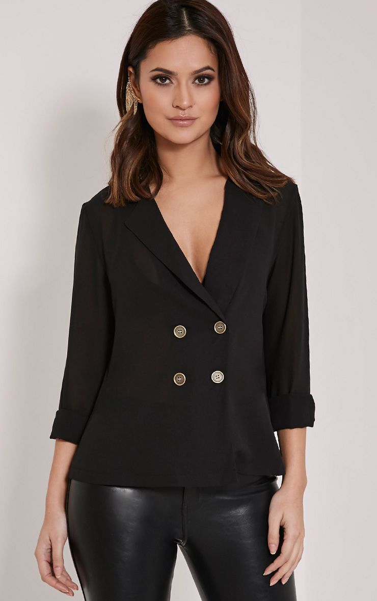 Elane Black Open Collar Blouse 1