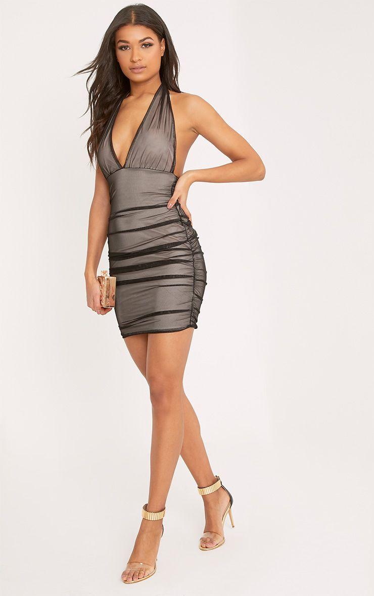 Kirstan Black Mesh Halterneck Bodycon Dress
