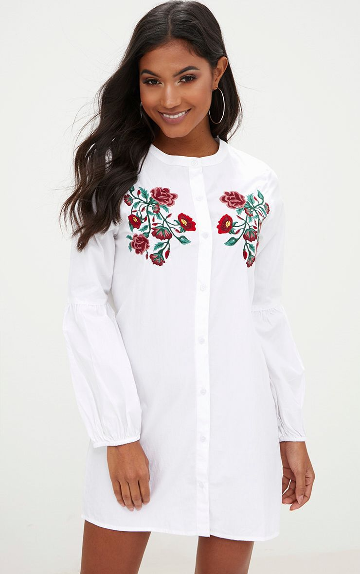 White Embroidered Long Sleeve Shirt Dress  1
