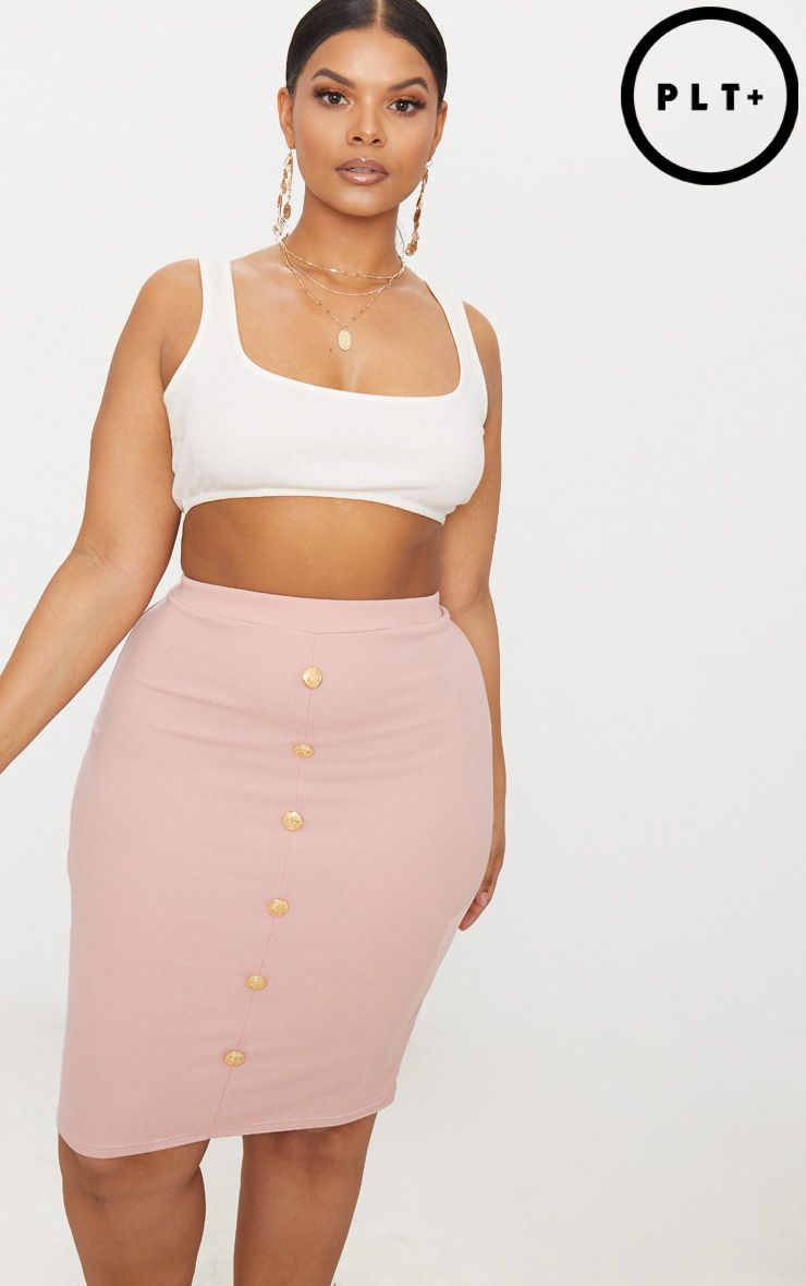 Plus Dusty Pink Military Button Detail Bodycon Skirt 1