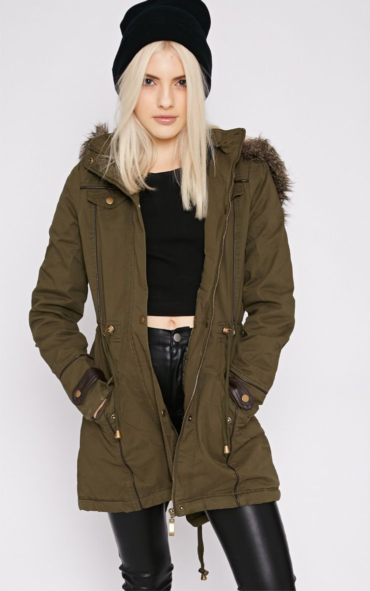 Chiara Khaki Parka With Fur Hood  1