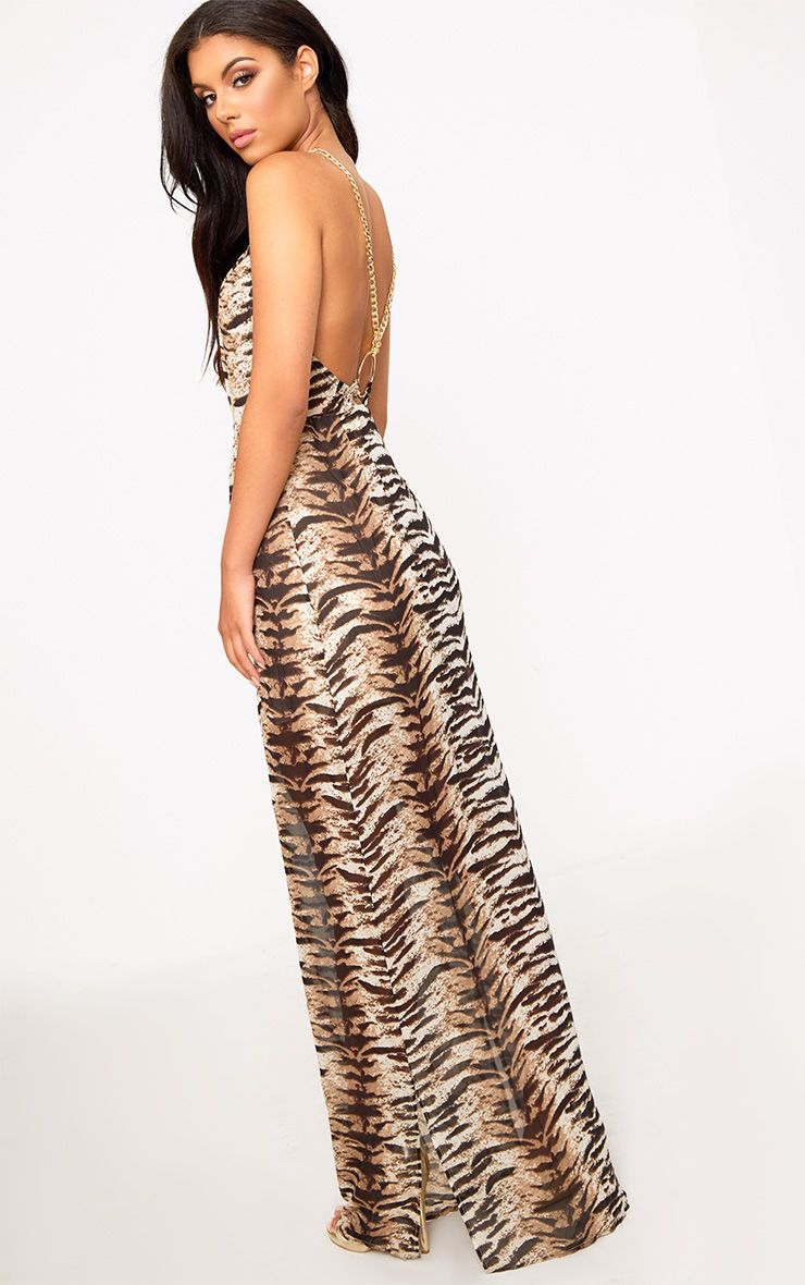 Leopard Print Ring Detail Maxi Dress
