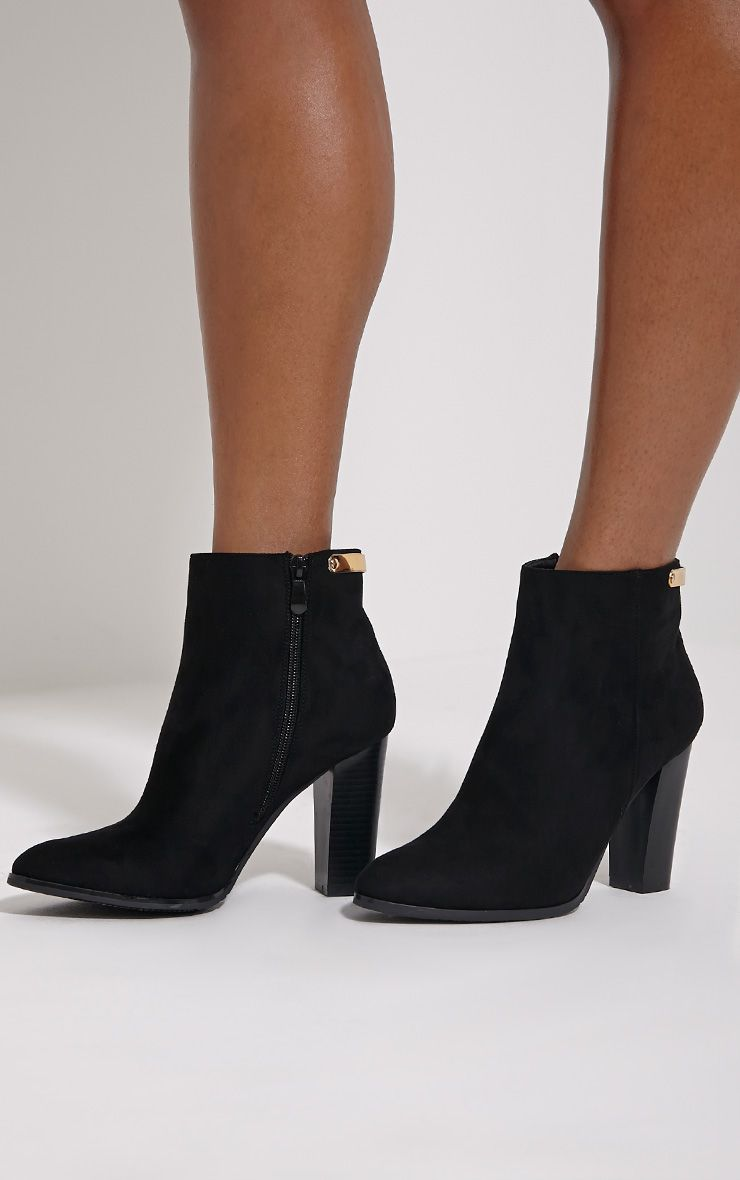 Kari Black Faux Suede Gold Plate Heel Boots 1