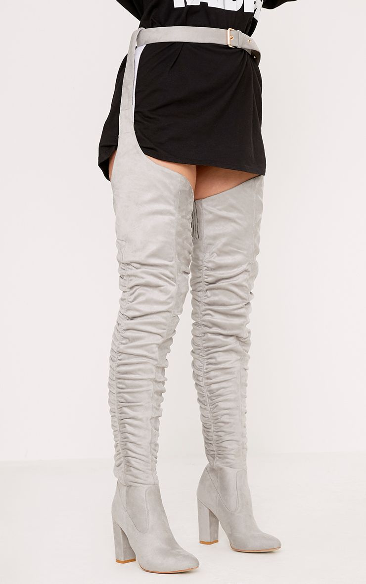 Beksie Grey Belted Thigh High Boots