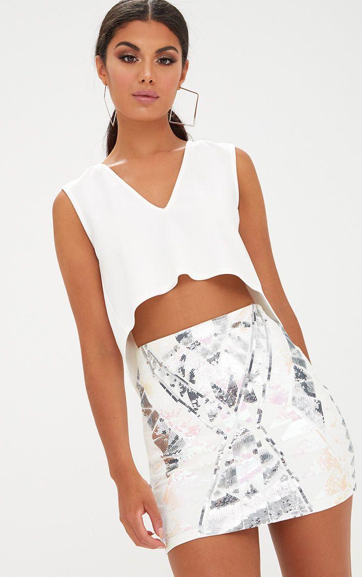 White Sequin Embellishment Mini Skirt