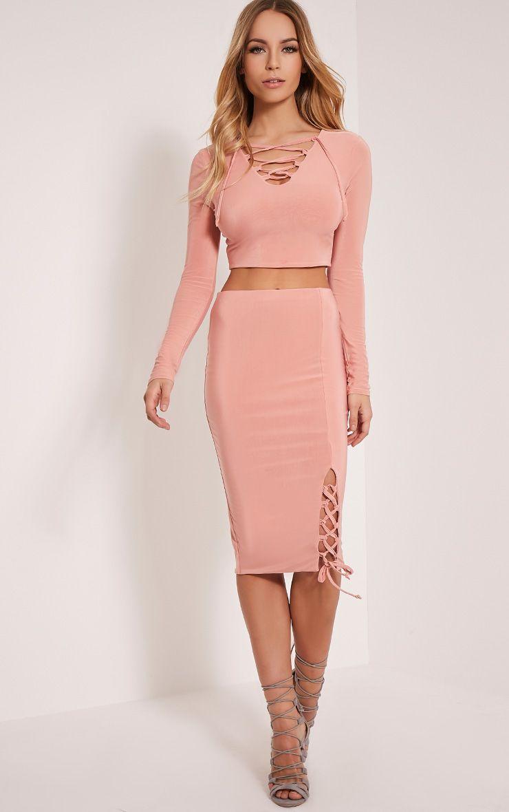 Ameria Blush Lace Up Detail Midi Skirt 1