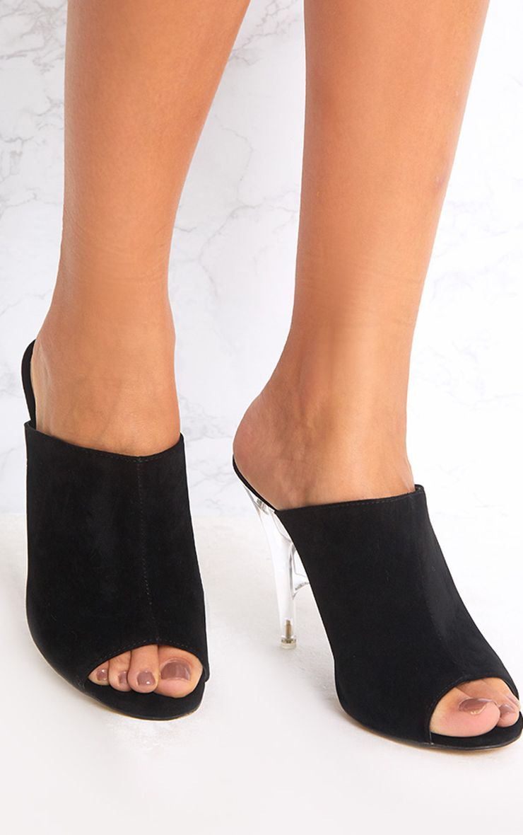 Kemina Black Clear Heeled Mules