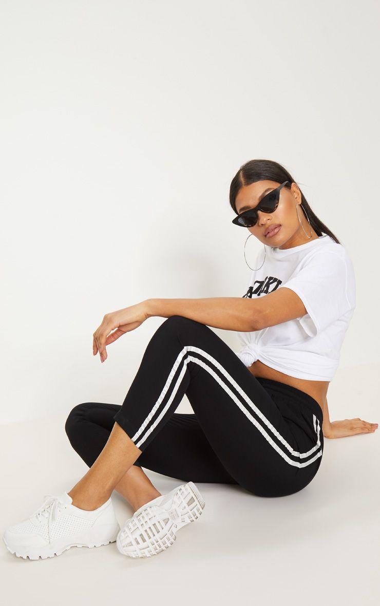 Black Double Stripe Drawstring Casual Trouser