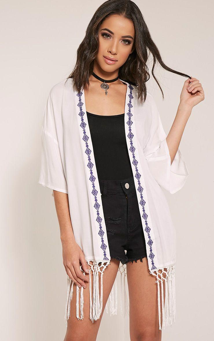 Angelina White Tassel Trim Kimono 1