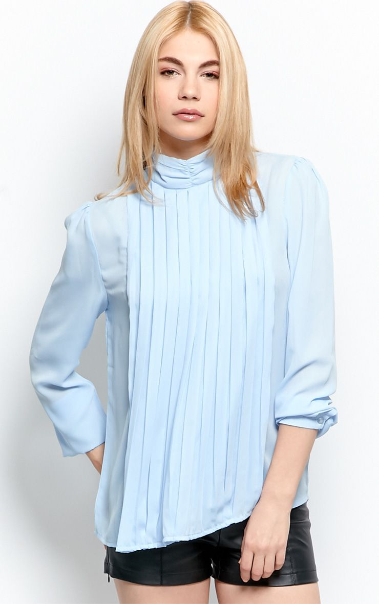Maisy Pale Blue Pleated Shirt 1