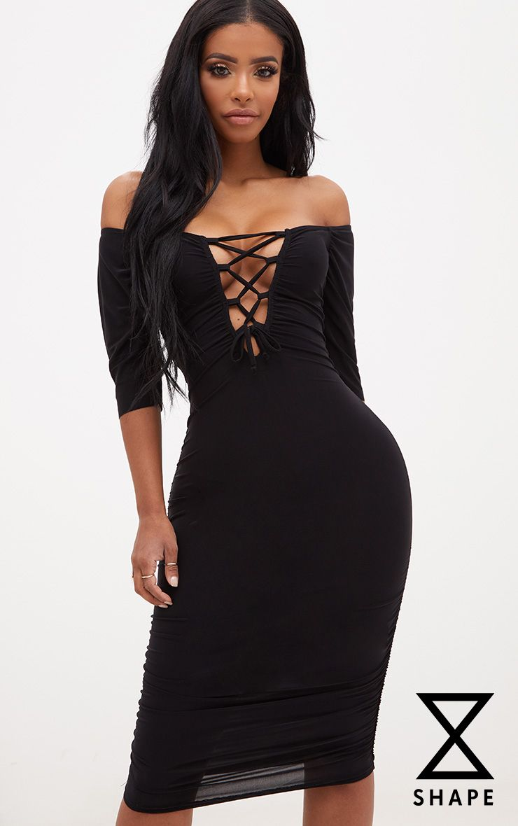 Shape Black Bardot Lace Up Ruched Midi Dress