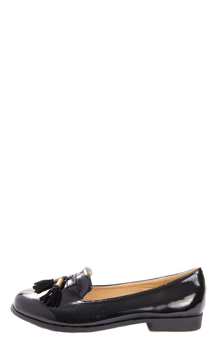 Gwyneth Black Patent Tassel Loafer 1