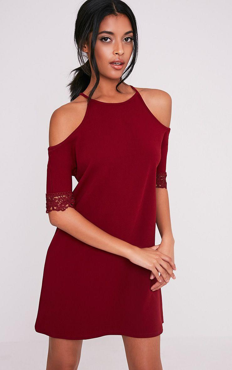 Christie Wine Lace Trim Cold Shoulder Dress