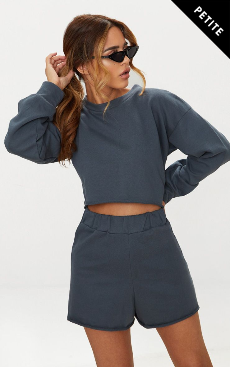 Petite Charcoal Raw Edge Cropped Sweater