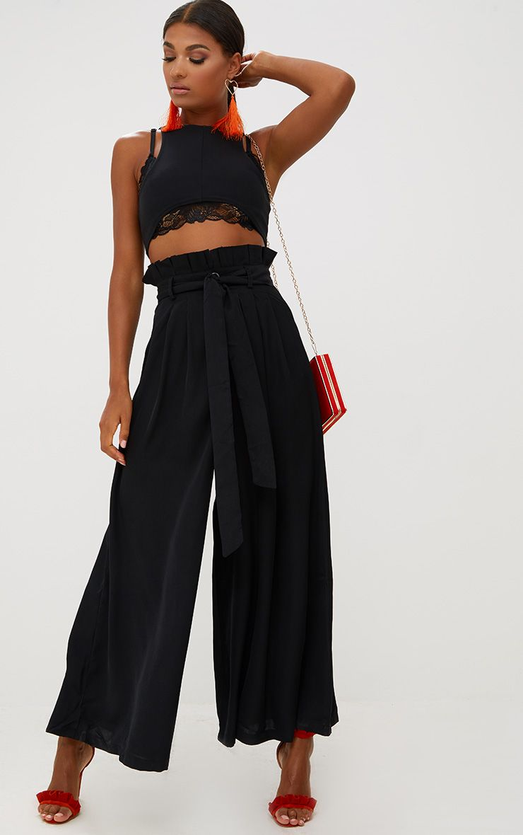 Black Wide Leg Paperbag Trousers