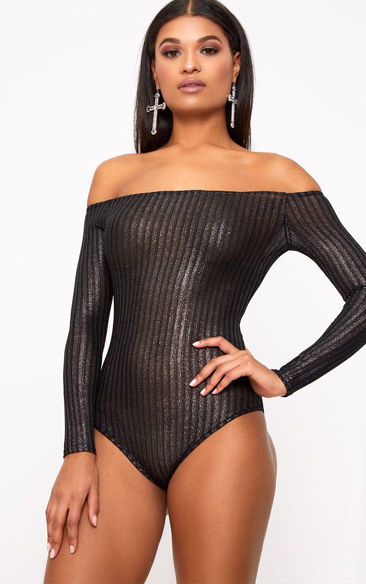 Black Carissa Lurex Bardot Thong Bodysuit