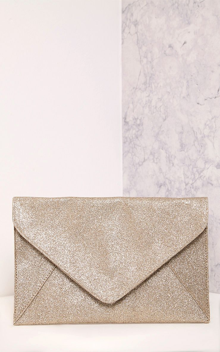 Paige Rose Gold Glitter Clutch Bag