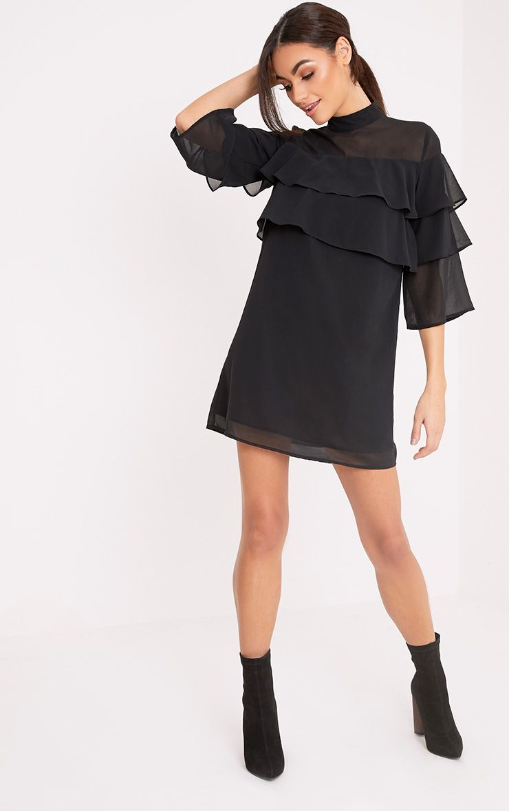 Evelyn Black Chiffon High Neck Frill Shift Dress