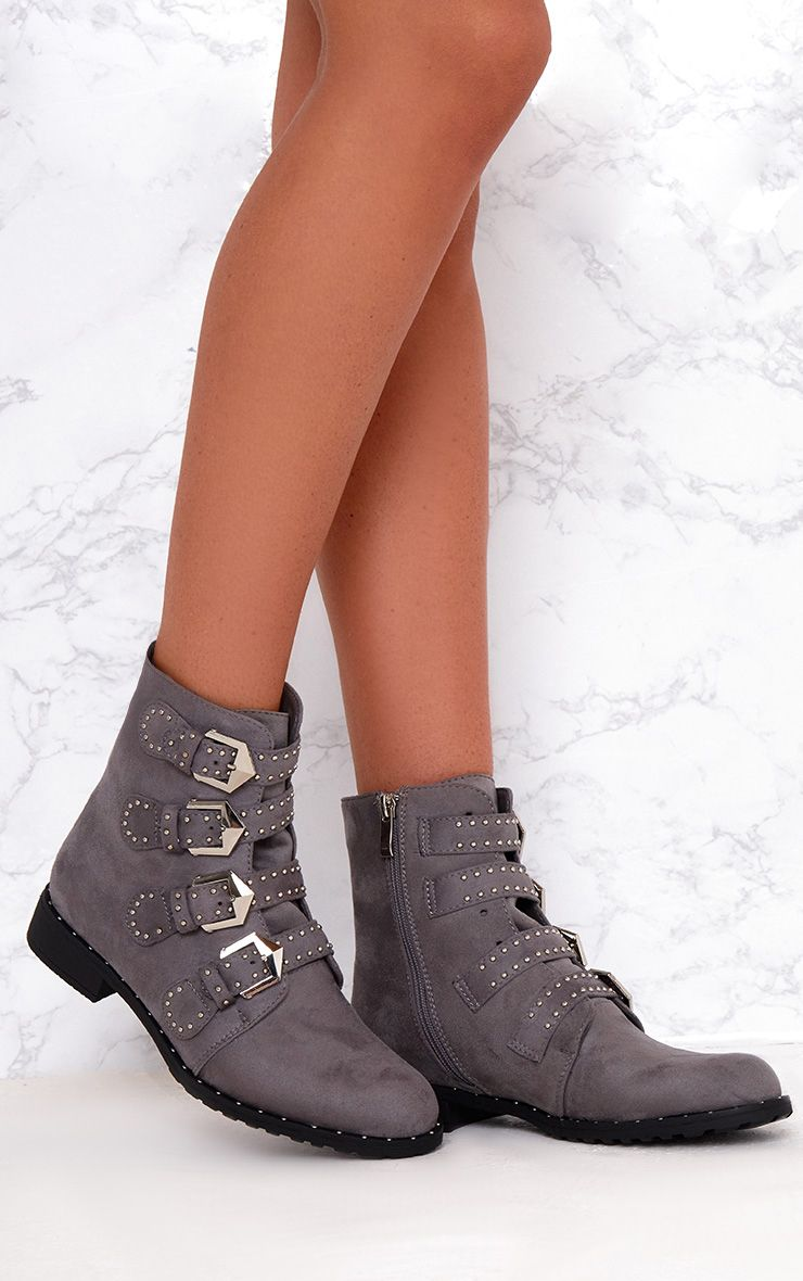 Grey PU Studded Buckle Ankle Boots