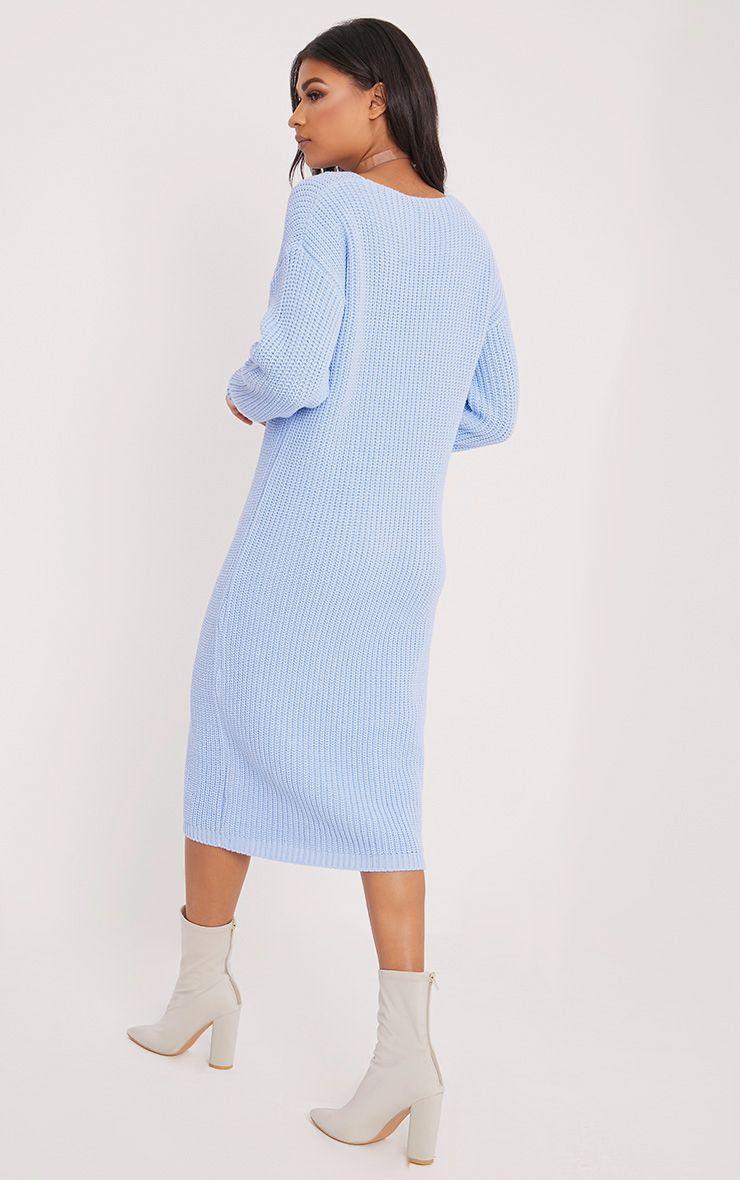 Breeze robe pull surdimensionnée bleue à col en V 2