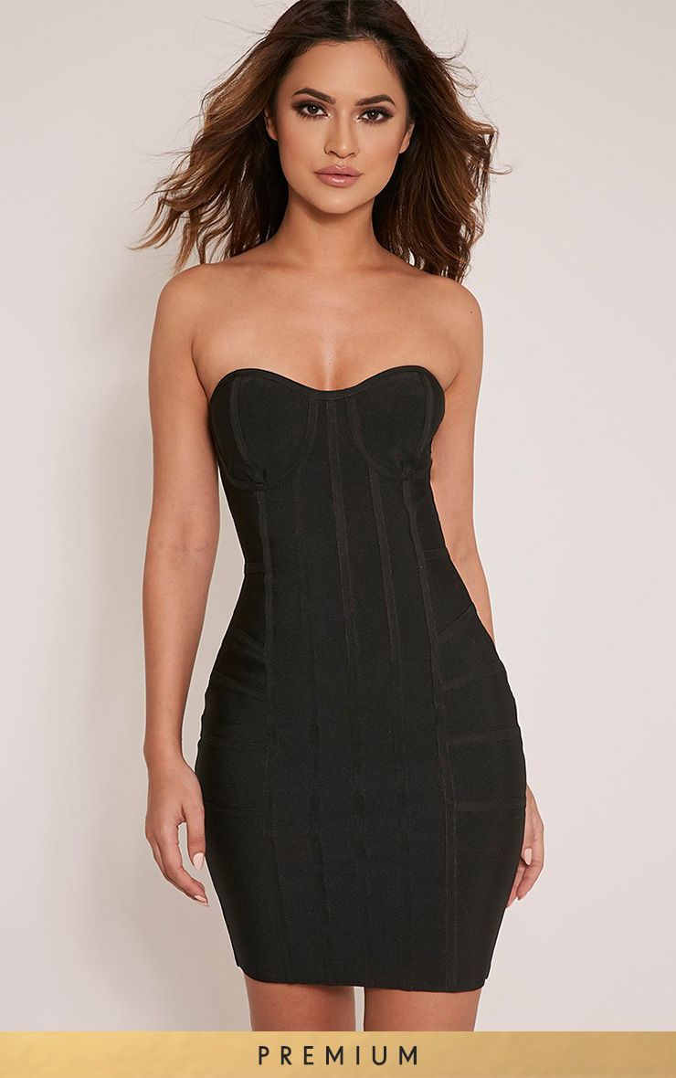 Cloe Black Premium Bandage Panel Bodycon Dress