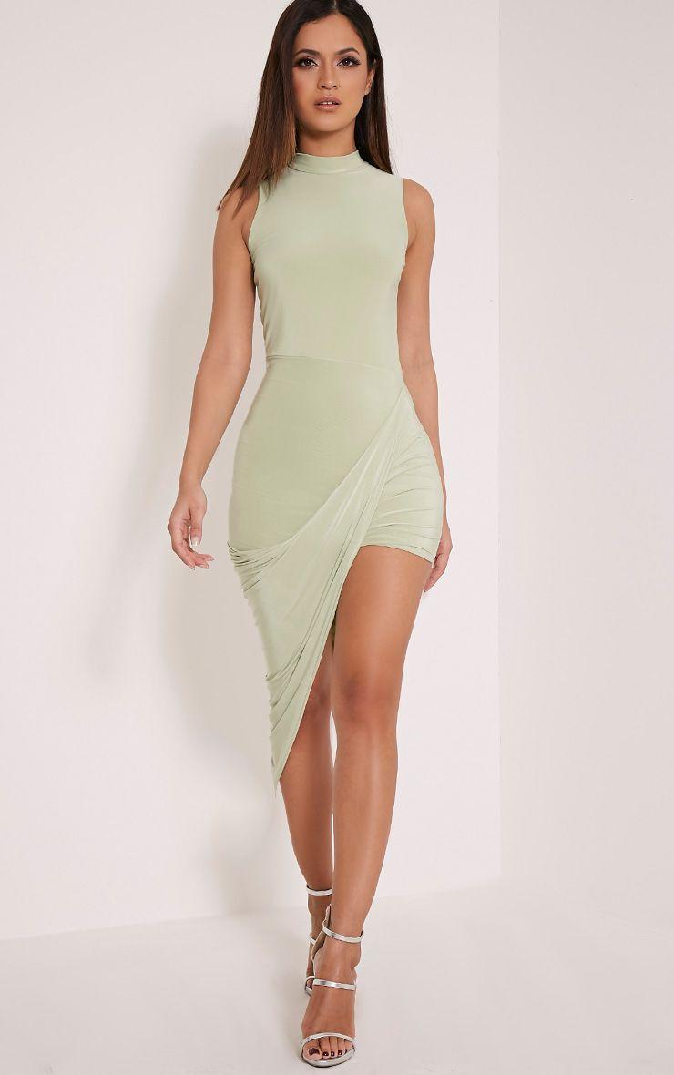 Prim Sage Green Slinky Drape Asymmetric Dress 1