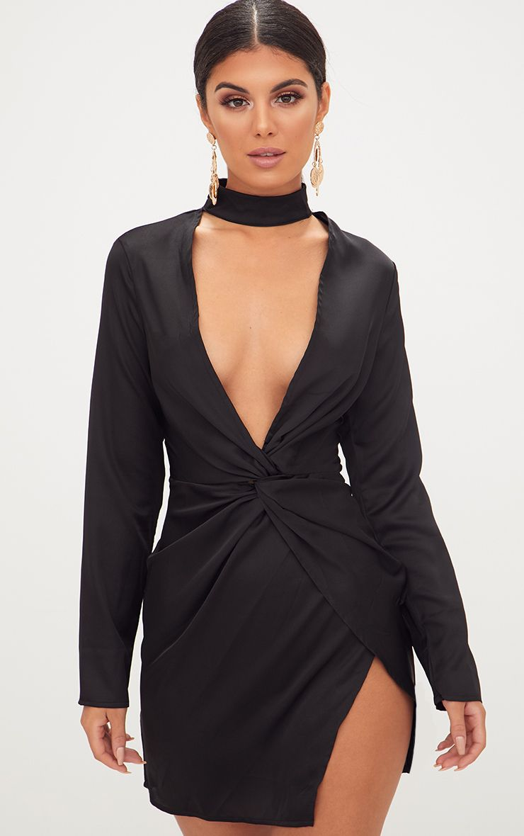 Black Satin Choker Detail Wrap Bodycon Dress