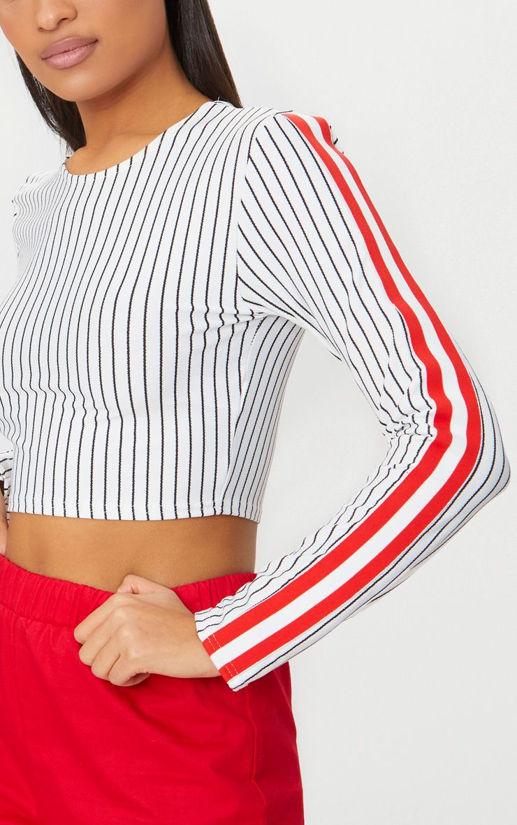 White Long Sleeve Sport Tape Stripe Crop Top Pretty Little Thing Cheap Choice With Credit Card Sale Online yl0C20y