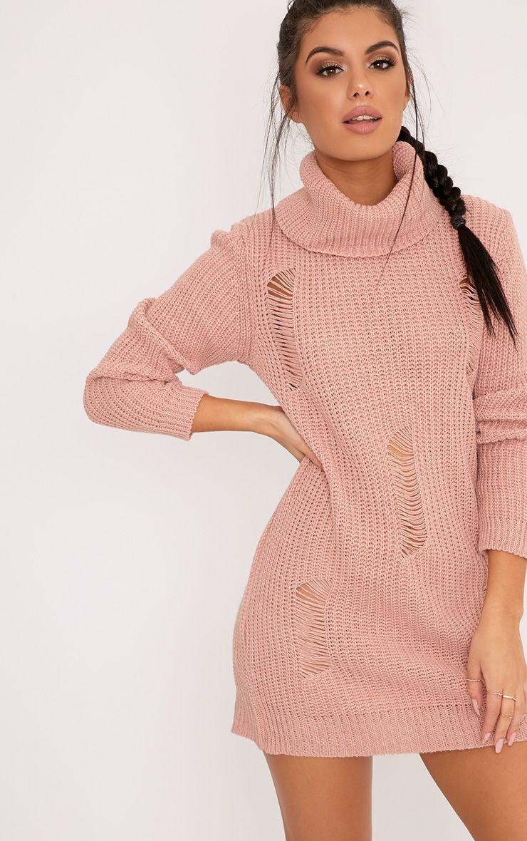 Nimae Blush Chunky Knit Roll neck Distress Tunic Jumper Pink