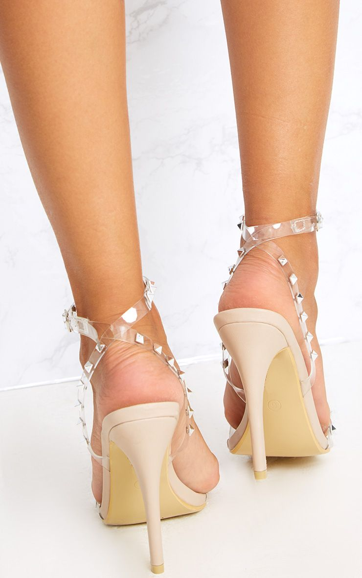 Nude Clear Strap Studded Strappy Heels Shoes -6430