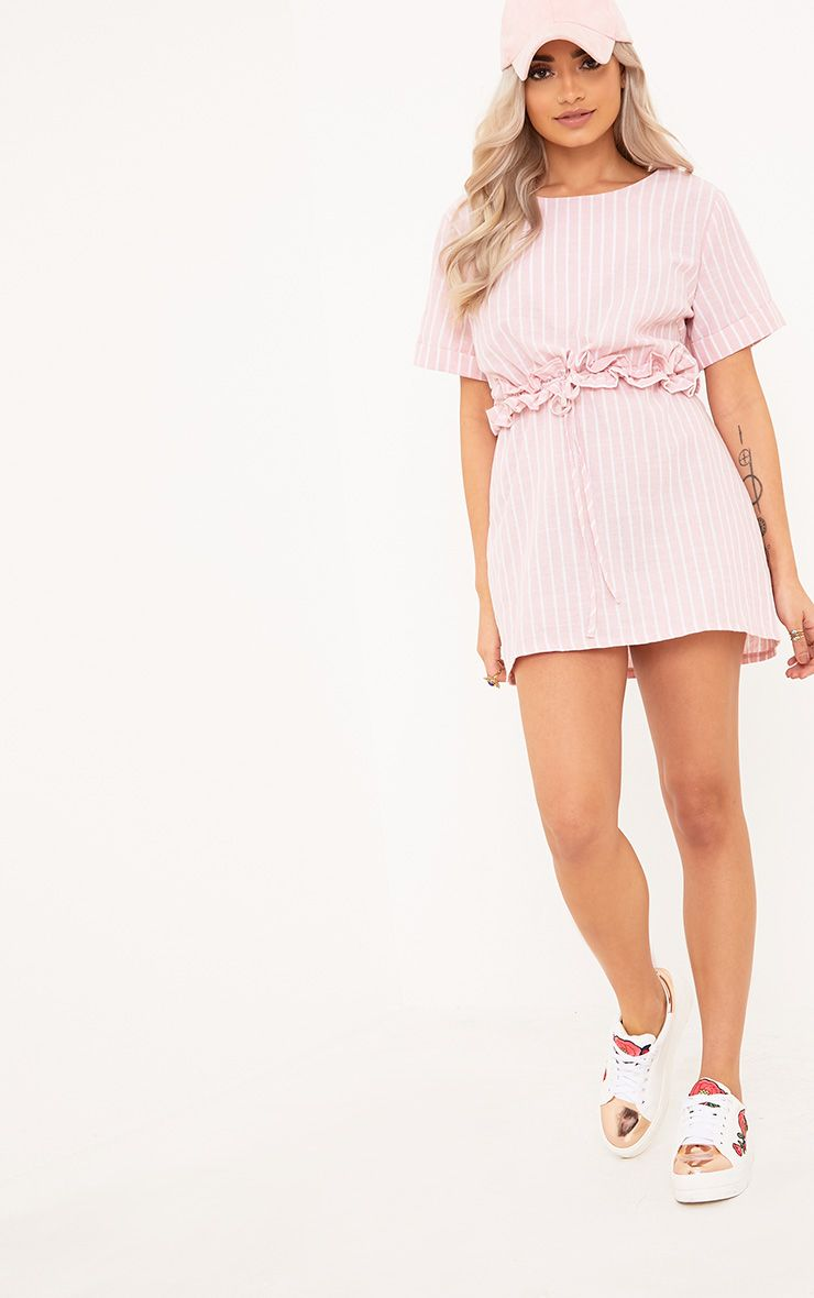 Kendrick Pink Pinstripe Frill Waist Detail Shift Dress