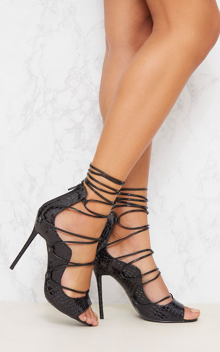 Black Ankle Lace Up Heel