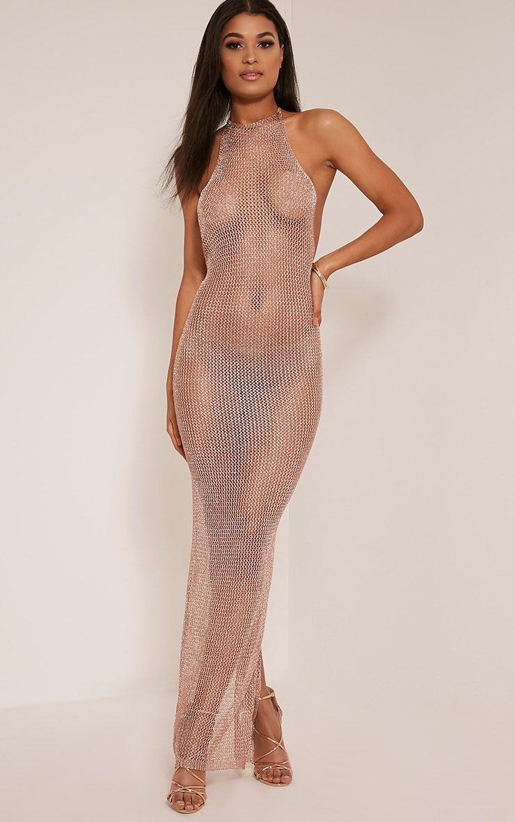 Sahara Sheer Bronze Metallic Knitted Maxi Dress 1