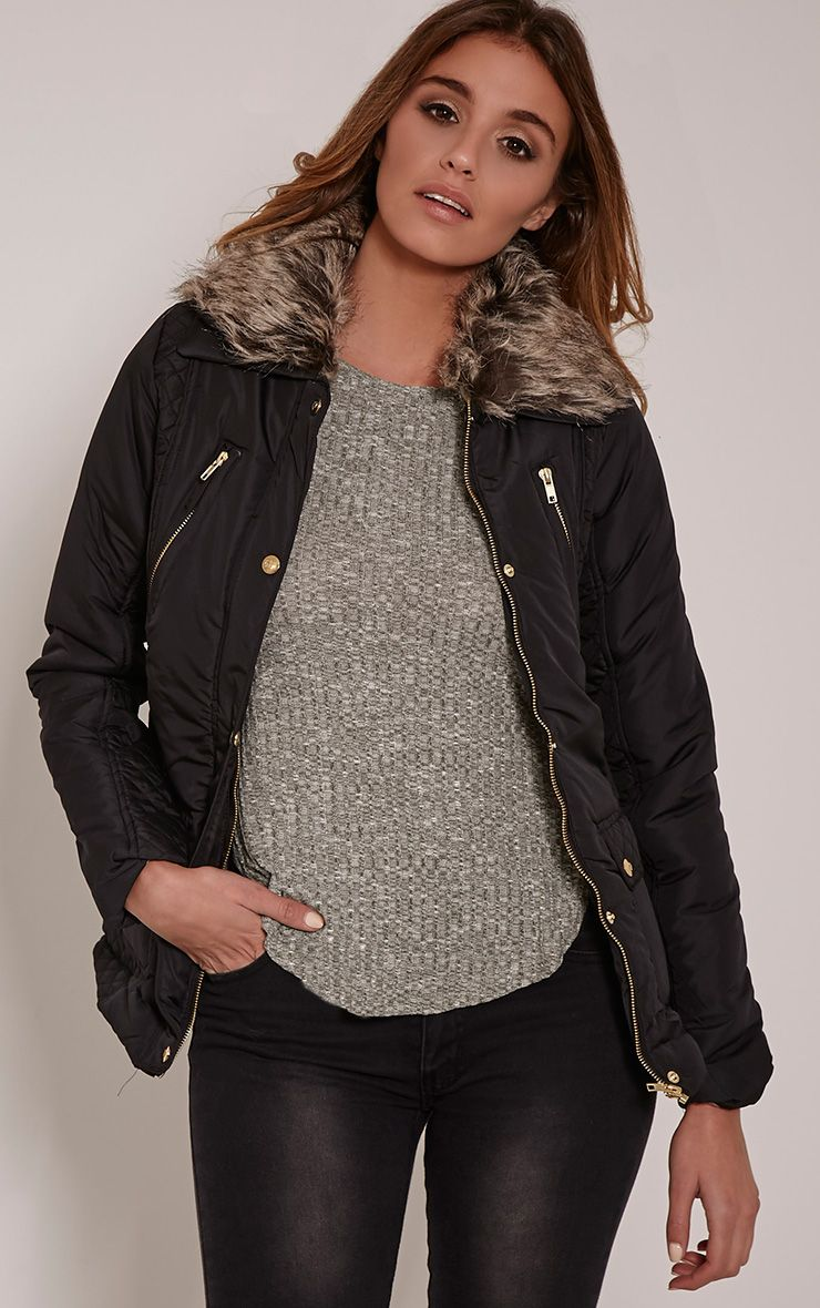 Eve Black Faux Fur Collar Quilted Jacket 1
