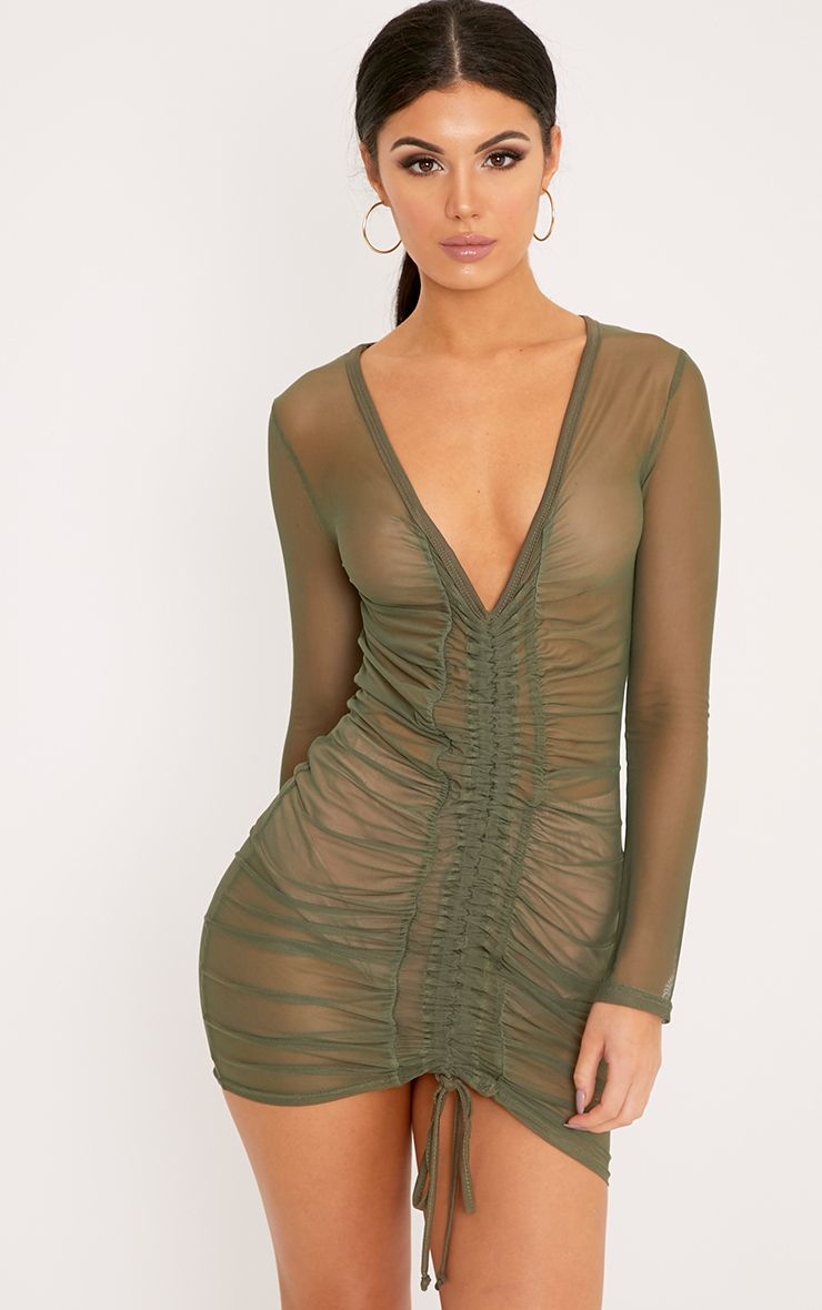 Lianna Khaki Mesh Ruched Bodycon Dress