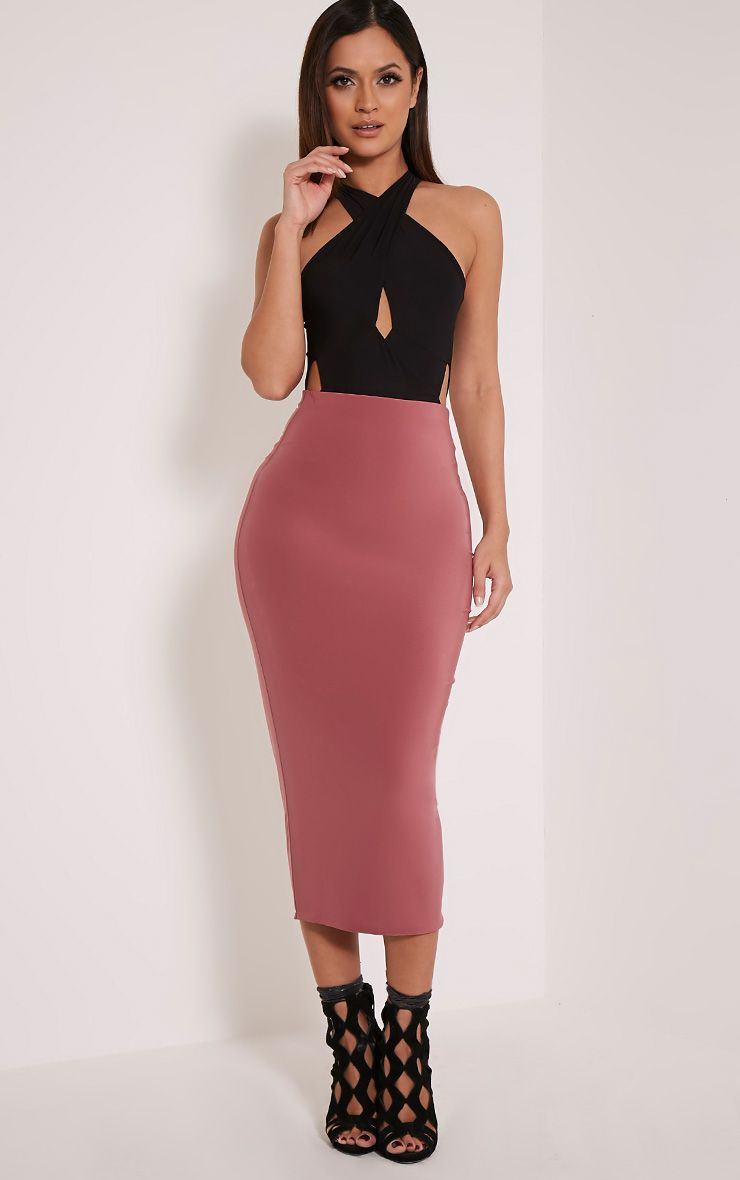 Steffany Rose Slinky Long Line Midi Skirt