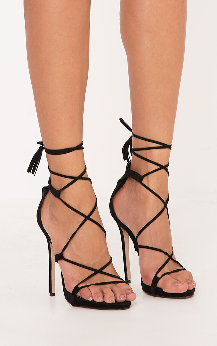 Rosaline Black Tassel Lace Up Heels
