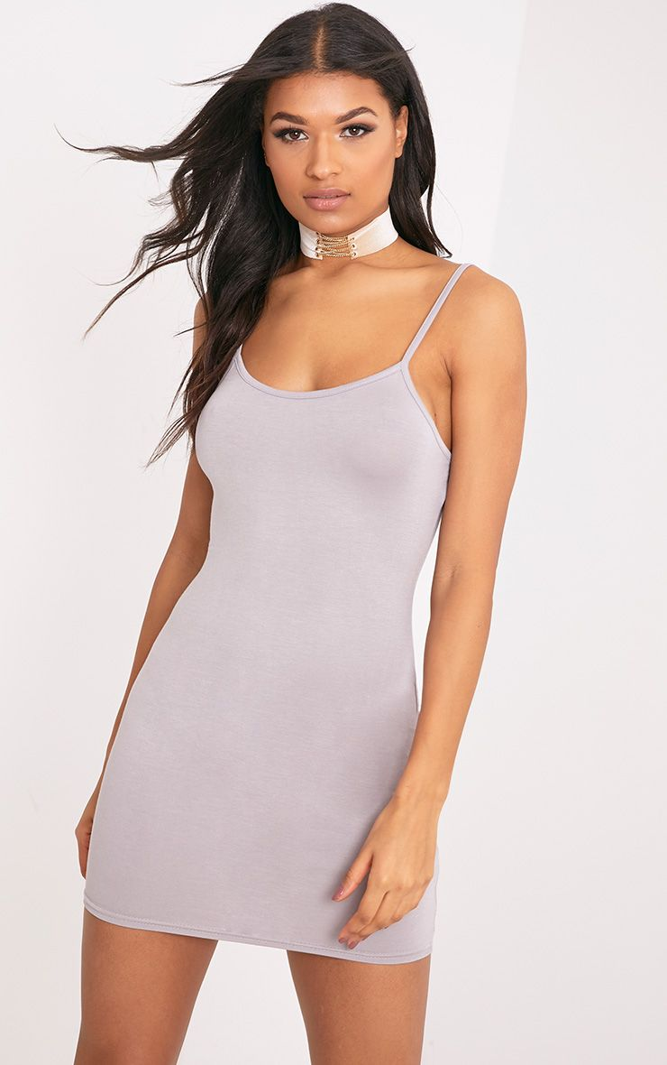 Basic Dove Grey Strappy Bodycon Dress