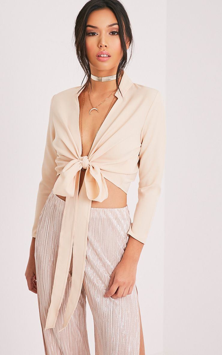 Blanche Stone Tie Front Long Sleeve Crop Blouse