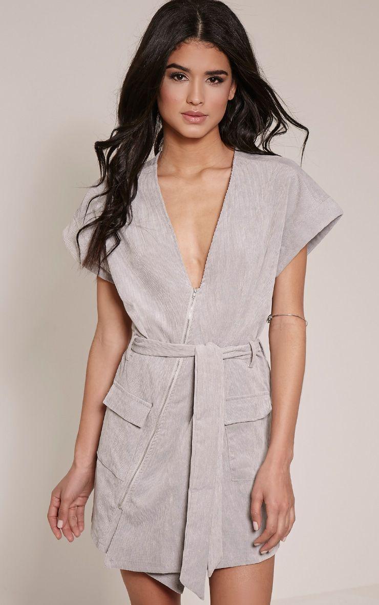 Tammie Grey Zip Front Tie Waist Mini Dress 1