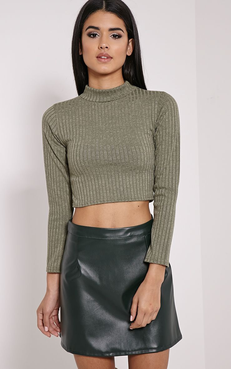 Candis Khaki Ribbed Knitted Polo Neck Top 1