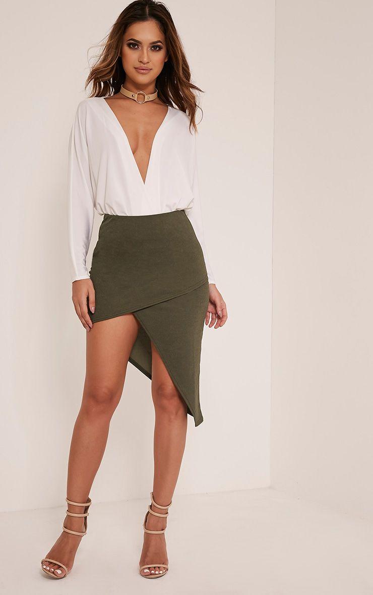 Caryn Khaki Asymmetric Hem Midi Skirt