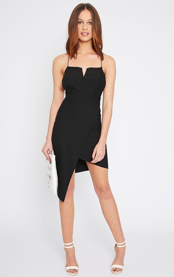 Raye Black Cross Back Asymmetric Dress  1