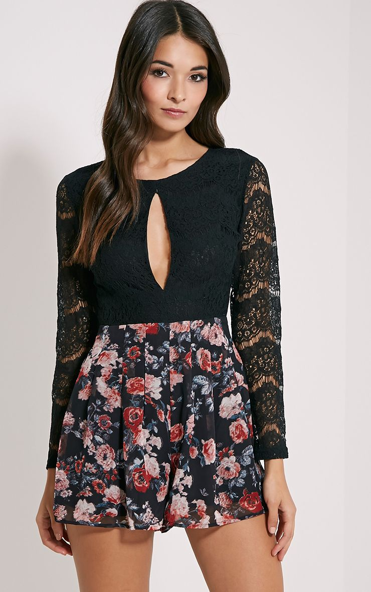 Adela Black Floral Lace Playsuit 1