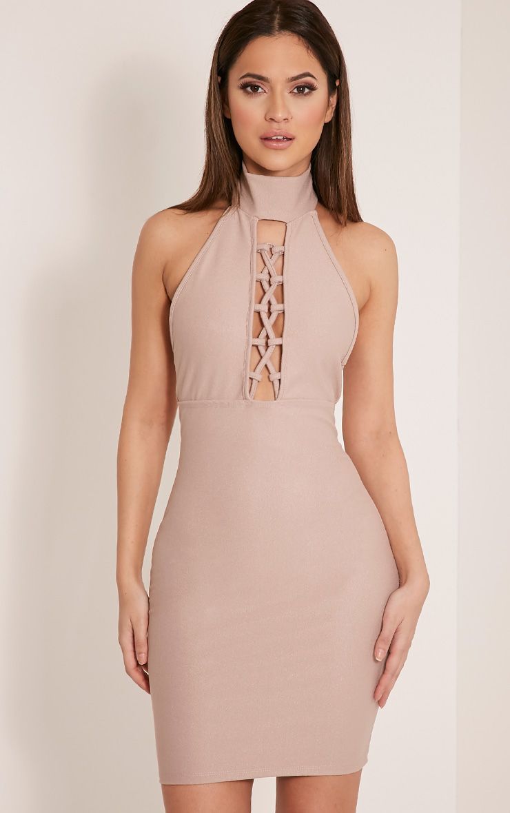 Jesseca Taupe Neck Detail Lace Up Crepe Bodycon Dress 1