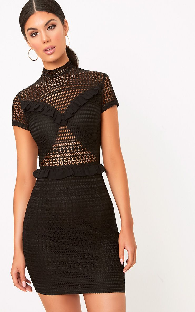 Besie Black Lace High Neck Ruffle Detail Bodycon Dress