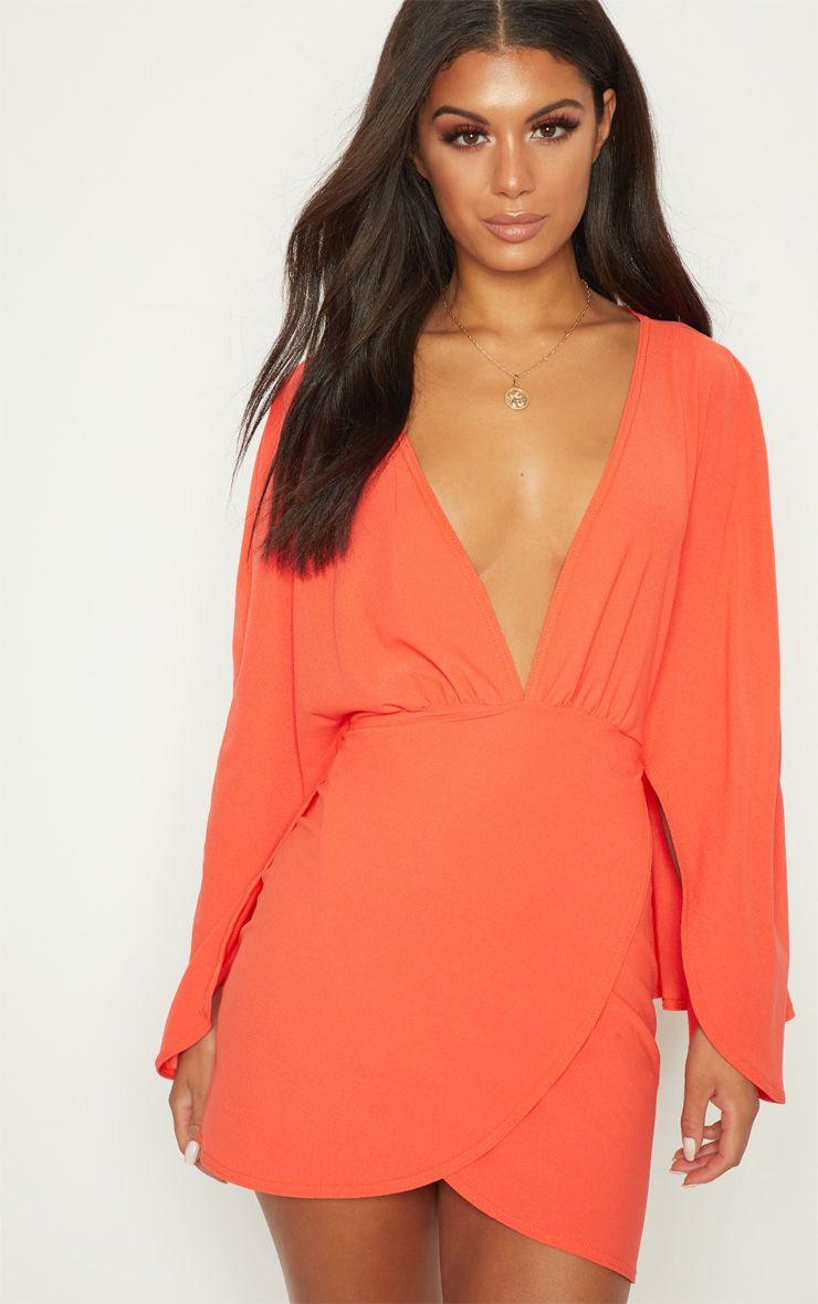 Bright Orange Plunge Cape Wrap Over Bodycon Dress
