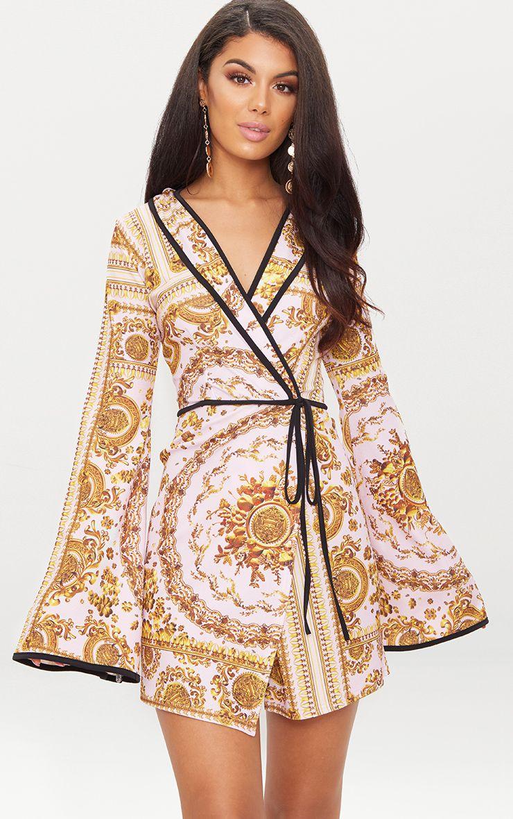Lilac Chain Print Kimono Sleeve Wrap Blazer Dress