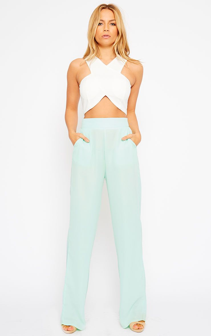 Theadora Mint Chiffon Wide Leg Trousers 1