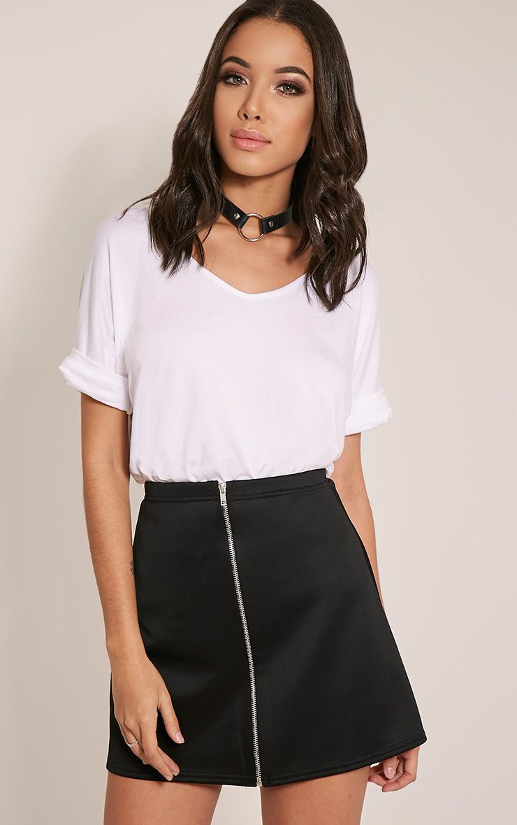 Makayla Black Zip ALine Mini Skirt Black